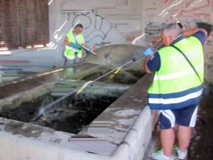 Volontari a lavori per ripulire il vecchio fontanile