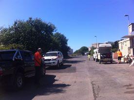 La foto della partenza della Protezione Civile.