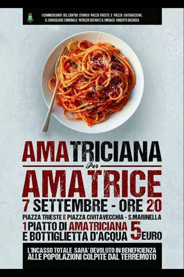 Santa Marinella:Il 7 settembreun piatto di Amatriciana per la ricostruzione
