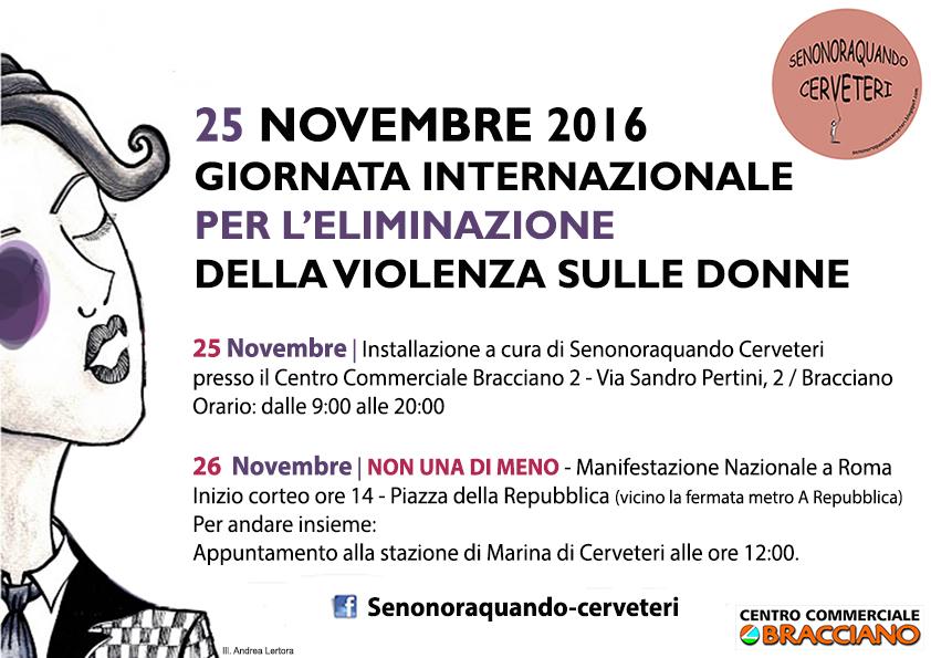 25 Novembre 2016,Giornata internazionale per l'eliminazione della violenza sulle donne.