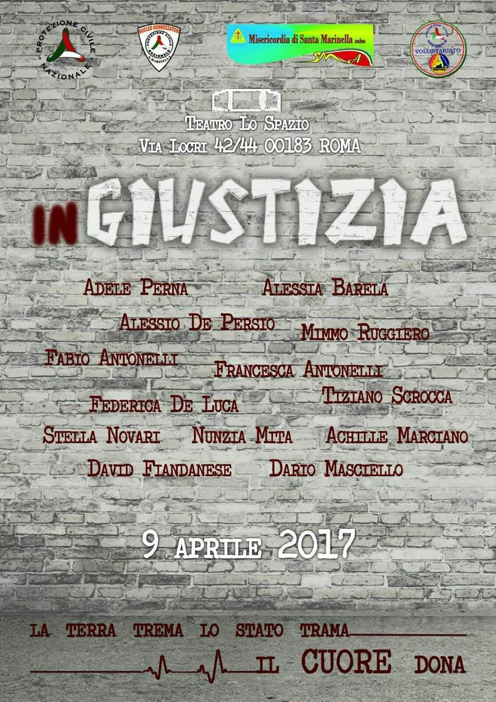 """Volontariato Santa Marinella: lo spettacolo """"inGiustizia"""" sbarca al Teatro Lo Spazio di Roma"""