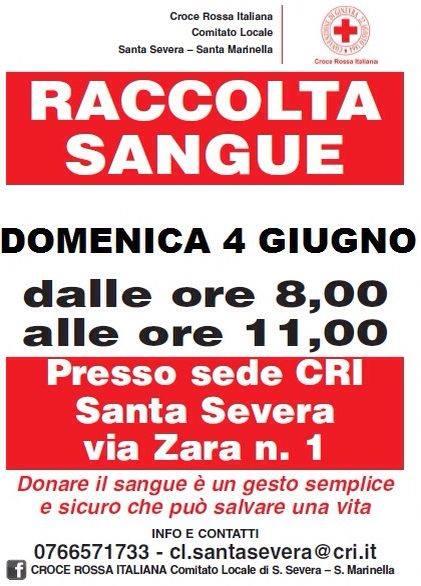 CRI di S.Severa-S.Marinella dalle ore 08:00 alle ore 11:00 per la Raccolta del Sangue