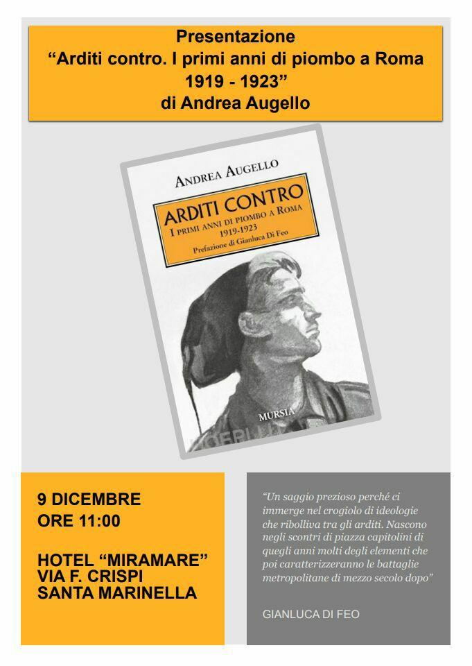 """""""Arditi contro"""": il nuovo libro di Andrea Augello a Santa Marinella"""