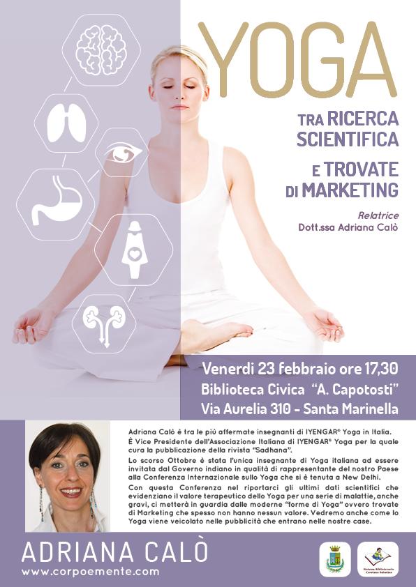 """Conferenza dal titolo""""Yoga, tra ricerca scientifica e marketing"""" presso la Biblioteca Civica """"A. Capotosti """" di Santa Marinella"""