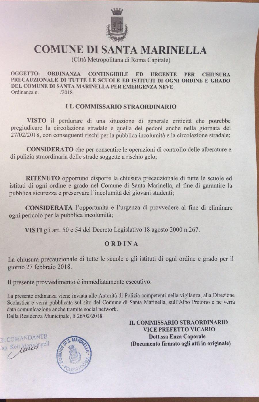 Maltempo Santa Marinella: scuole chiuse anche domani.