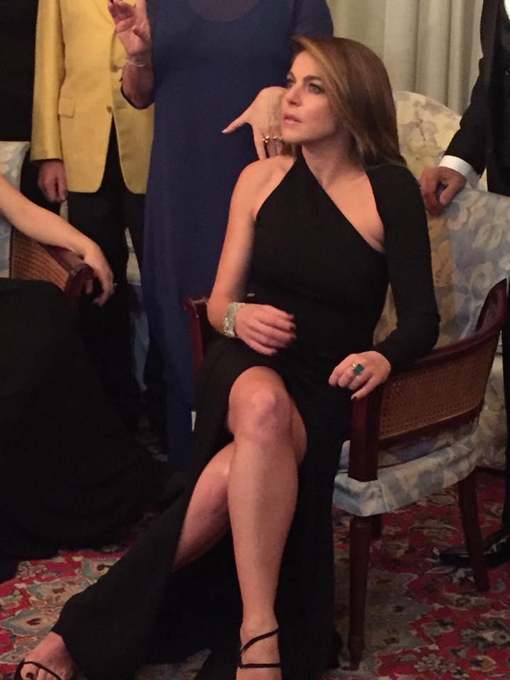 Franco Ciambella stilista per Claudia Gerini alla prima puntata del Festival di Sanremo