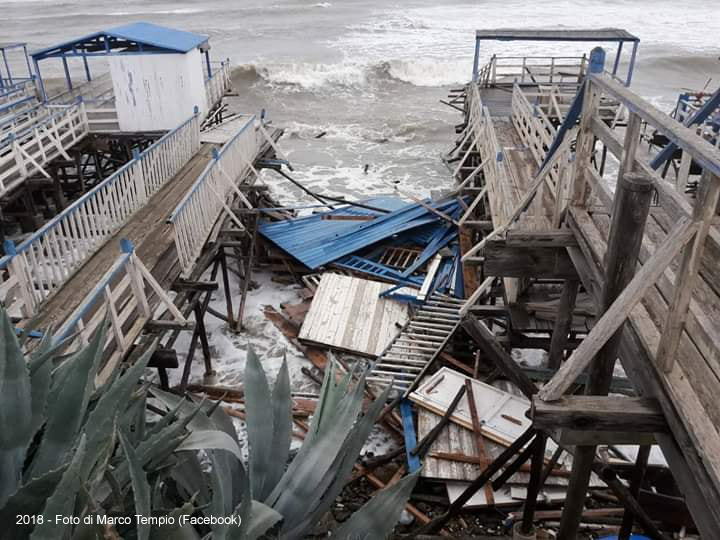 Santa Marinella emergenza maltempo: distrutto la Stabilimento Little Paradise