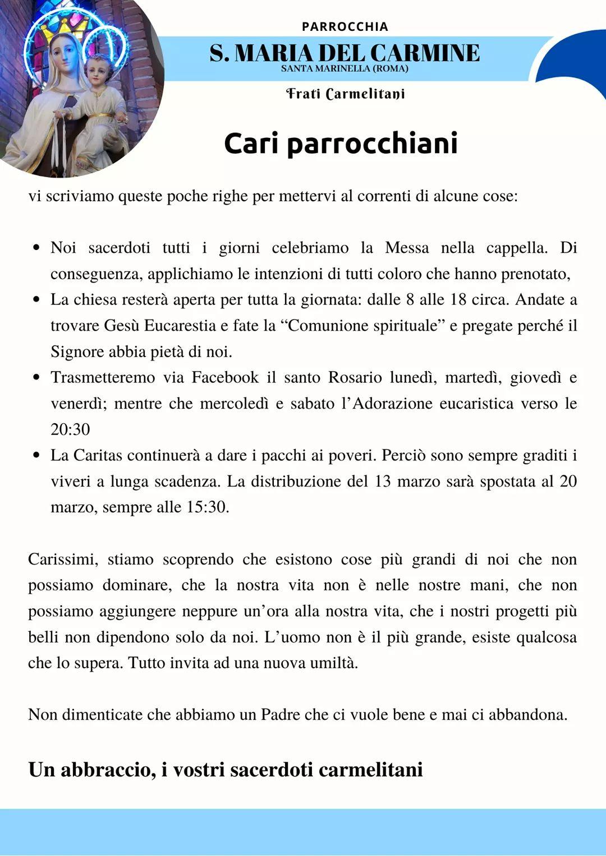 Cov19 Santa Marinella: sospese messe. Parrocchia del Carmelo trasmette il Rosario su facebook